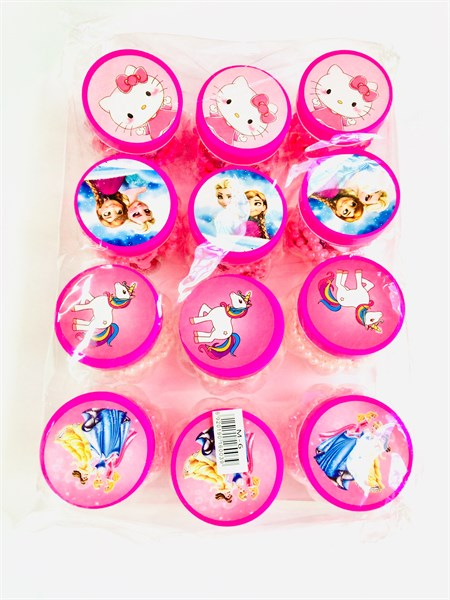 Детский набор для девочек: бусы, браслет и клипсы в баночке в упаковке 12 шт. - фото 11272