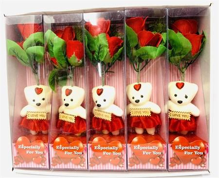 Набор роз с мишкой, в коробке в упаковке 6 шт. - фото 12547