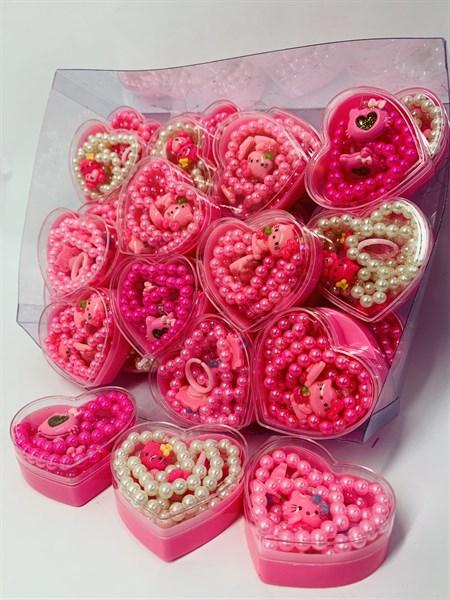 Набор сердечко аксессуаров (бусы, браслет, кольцо) - фото 12603