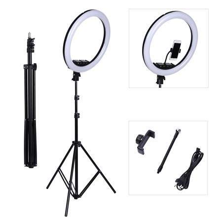 Кольцевая светодиодная лампа 26 см со штативом - фото 12801