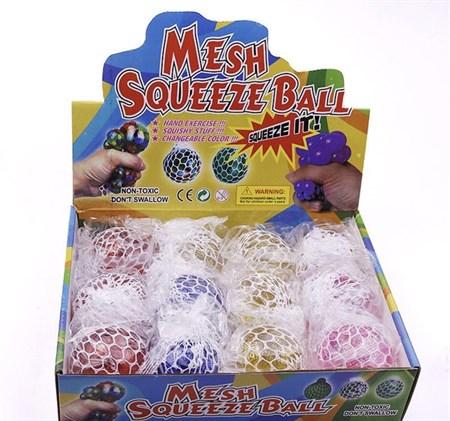 Антистресс игрушка для рук в сетке с блестками в упаковке 12 шт. - фото 12946