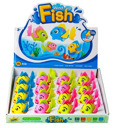 Заводная игрушка Рыбка, в ассортименте в упаковке 16 шт. - фото 13089