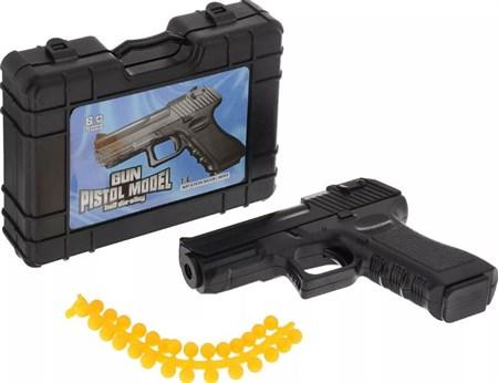 Пистолет металлический в чемодане с пульками 11 см - фото 14156