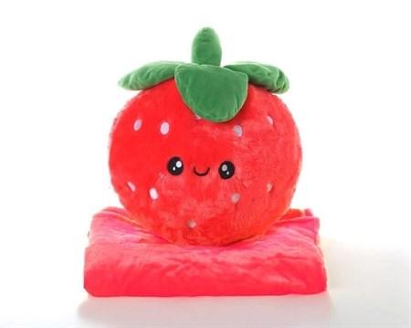 Плюшевая игрушка с пледом Клубника 45 см - фото 14182