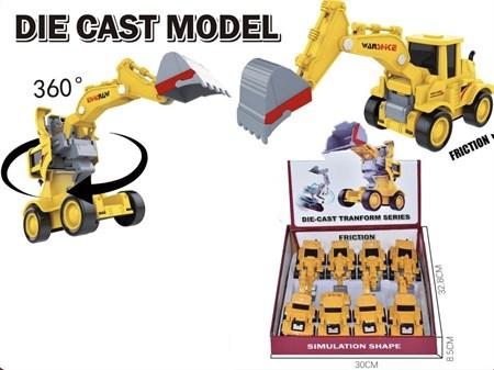 Металлическая машина Стройтехника - трансформер робот, в ассортименте (в упаковке 12 шт.) - фото 14199