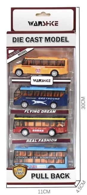 Набор металлических автобусов в коробке - фото 14206