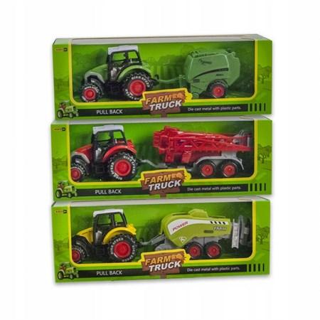 Металлический трактор в коробке, цвет в ассортименте - фото 14331