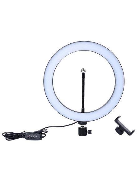 Кольцевая светодиодная селфи лампа, 26см - фото 14373