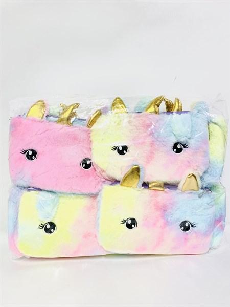 Плюшевая сумка косметичка Единорог радужная расцветка - фото 14445