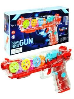 Пистолет игрушечный прозрачный музыкальный с движущимися шестеренками - фото 14536