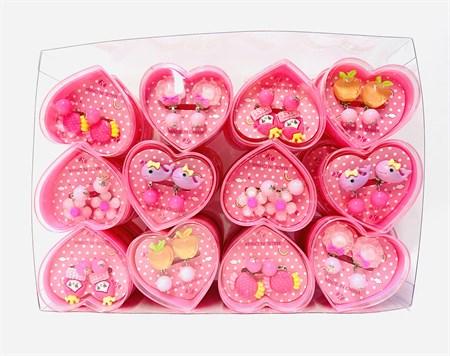 Набор детских серёжек клипс в сердце - фото 14613