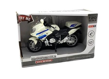Мотоцикл City Rescue со светом, звуком, на батарейках белый, 17х13х6 см - фото 14772