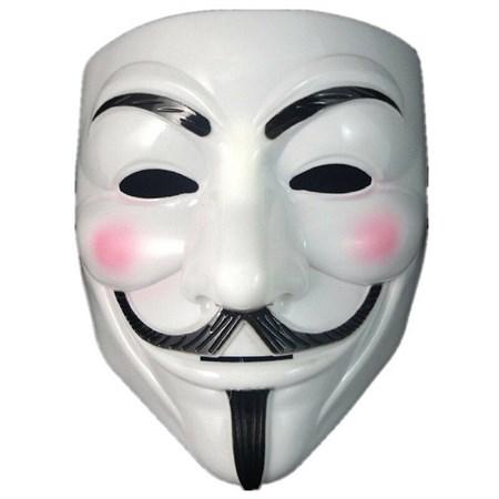 Маска Анонимуса белая - фото 14975