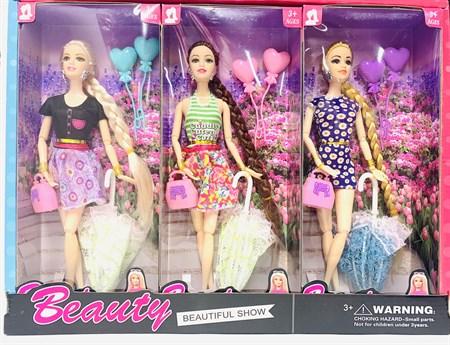 Кукла Fashion beauty с зонтиком (в упаковке 6 шт) - фото 15353
