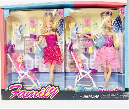 Кукла Барби с ребёнком в коляске и аксессуарами - фото 15354