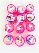 Детский набор для девочек: бусы, браслет и клипсы в баночке в упаковке 12 шт.