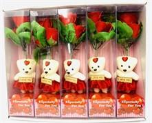 Набор роз с мишкой, в коробке