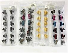 Крабик для волос маленькие металлические, в ассортименте в упаковке 12 шт.