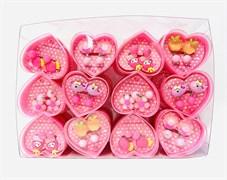 Набор детских серёжек клипс в сердце